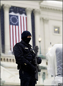 A Capitol policeman guards the stage
