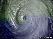 A satellite image of Hurricane Katrina