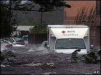 A red cross truck in US state Mississippi