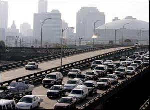Hundreds of thousands of people leave the city of New Orleans in the southern US, in preparation for Hurricane Katrina