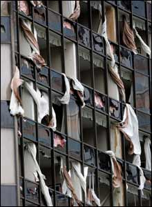 All the windows on the northern side of the Hyatt hotel in New Orleans were blown in