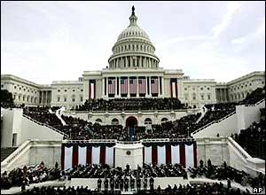 View of the US Capitol during the swearing-in of President Bush