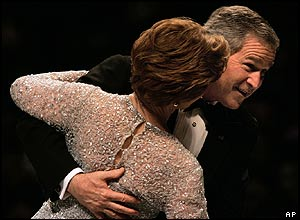 George Bush with wife, Laura