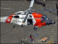 A rescue helicopter in the US