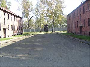 Inside the Auschwitz I concentration camp.