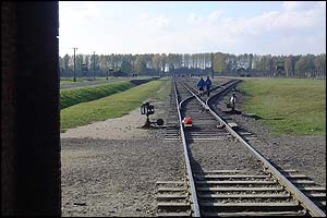 The train track that led directly into Auschwitz II or Birkenau, that carried 2.2 million people to their deaths, including 1.5 million Jews.