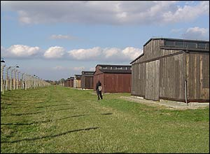The many, many wooden barracks built by the Nazis to hold prisoners at Birkenau.