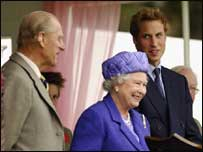 Prince William with his grandparents, the Queen and the Duke of Edinburgh