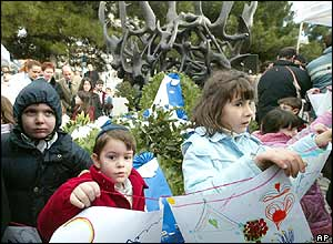 Thessaloniki children from a Jewish school attend a Holocaust ceremony