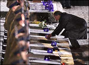 German President Horst Koehler places a candle at a monument for the camp victims