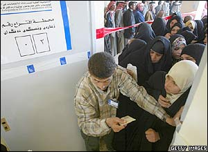 Voters queue to enter a polling station in Najaf