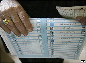 An Iraqi woman holds a ballot paper and her ID