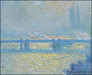 Monet Charing Cross Bridge, overcast weather, at Tate Britain