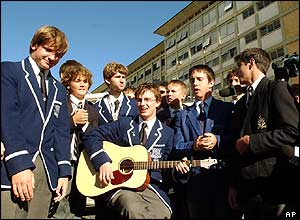 Australian schoolboys outside the Gemelli