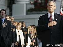 George W Bush marks 8.46am at the White House
