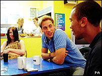 Prince William speaking to young people during a volunteering visit to homelessness charity Centrepoint, in London.