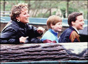 Here he is, in 1993, with his mother, Princess Diana, and brother Prince William
