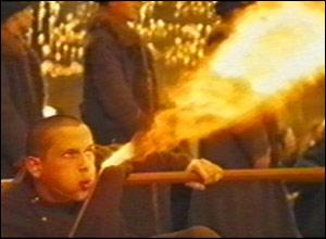 There's plenty of trickery, as this Durmstrang student breathes fire...
