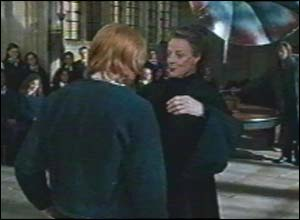 Professor McGonagall teaches a very unwilling Ron to dance