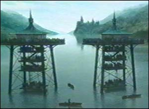 These platforms stand above a huge lake - they must be for Harry's second task