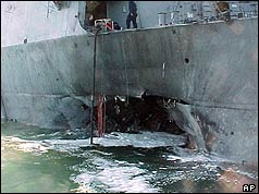 Damage to USS Cole