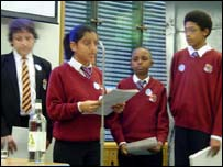 Shetal and other pupils from her school speaking at the Send My Friend to School launch