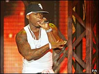 50 Cent on stage in Glasgow