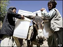 Election workers load ballot boxes onto a donkey in Afghanistan