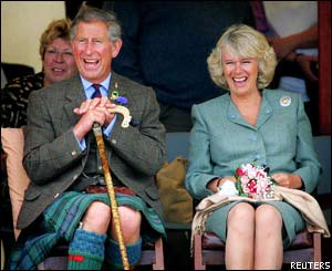Prince Charles and Mrs Parker Bowles at the Mey Highland Games in Scotland in August 2004 (photo: Rex Features)