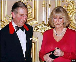 Prince Charles and Camilla Parker Bowles in the grand reception room of Windsor Castle after announcing their engagement