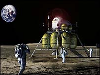 An artists impression of the lunar lander landing on the moon - NASA / John Frassanito and Associates.
