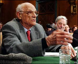 Arthur Miller appears before the Senate Judiciary Committee on Capitol Hill on April 28, 2004