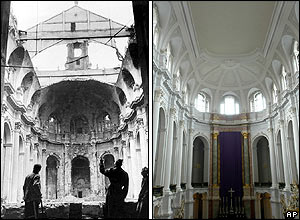 Dresden's Hofkirche viewed from the organ: in ruins in 1946 and as it stands in 2005