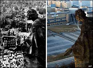 Dresden from the top of the city hall: in ruins in 1945 and as it stands in 2005