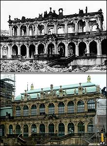 Zwinger art galleries: in ruins in 1946 and as they stand in 2005