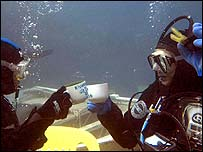 The divers toast their record breaking attempt