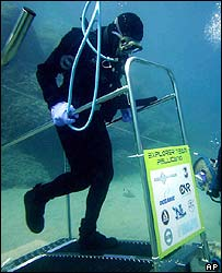 Diver exercises underwater