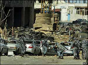 Cars crushed by the force of Monday's blast