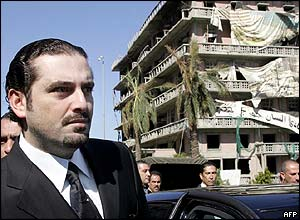 Saadeddine Hariri, the former prime minister's son, inspects the site