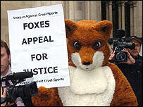 Member of the League Against Cruel Sports dressed up as a fox