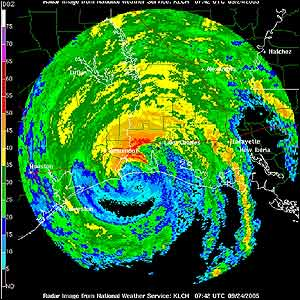 A radar image shows Hurricane Rita coming ashore along the Texas-Louisiana battering the coast with rain and pounding waves.