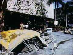 Wreckage of car outside Air India building