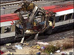 Wrecked train after bomb attacks in Madrid