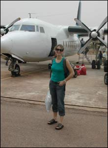 Ellie arrives at Tamale airport in northern Ghana, to report on African poverty