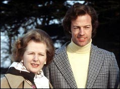 Margaret Thatcher with her son in January 1982