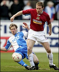 Blackburn's Andy Todd and Burnley's Ian Moore