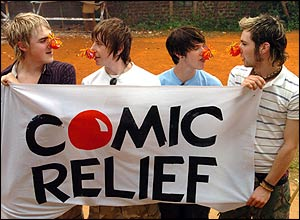 Stars like McFly help raise cash for charity Comic Relief, who help people in need in Africa