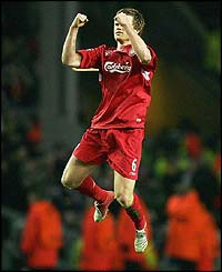 John Arne Riise celebrates scoring from a free-kick for Liverpool's second goal