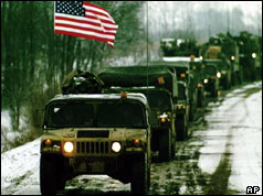 US APC arrives at the Sava River, Bosnia - January 1996