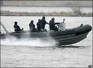 German special forces patrol the Rhine river in Mainz, Germany